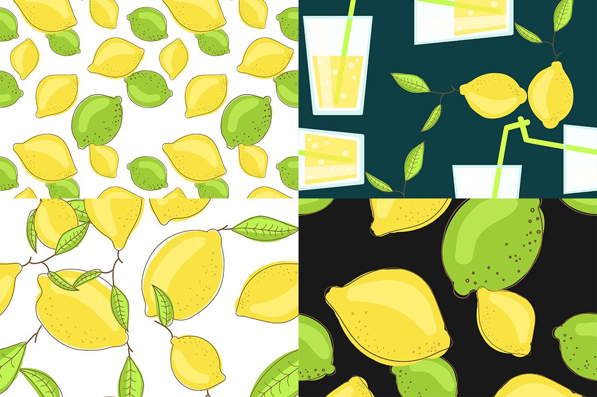 Lemon citrus pattern - set of 8 example image 3