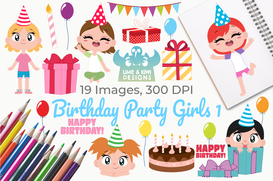 Birthday Party Girls 1 Clipart, Instant Download Vector Art example image 1
