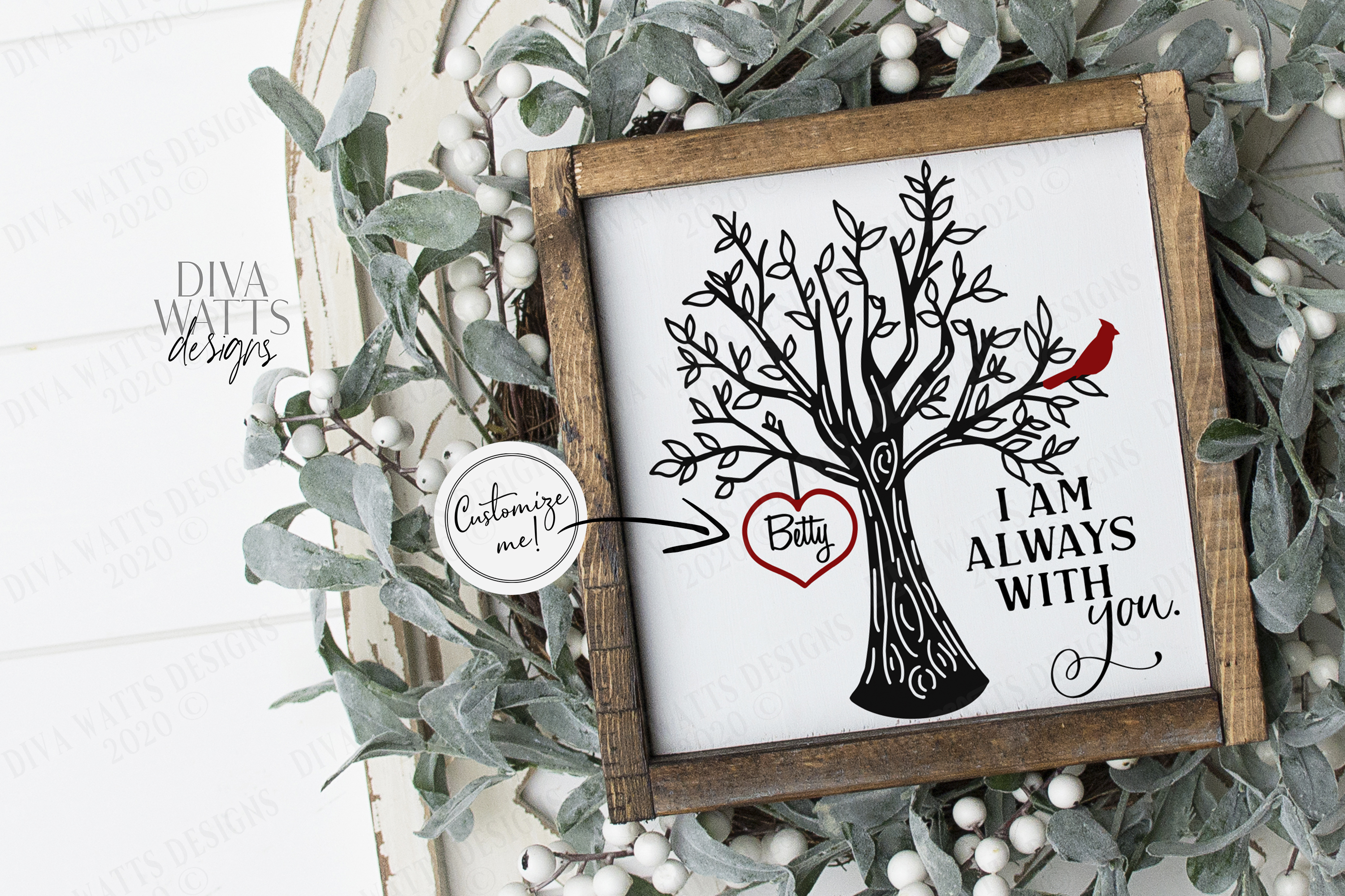 I Am Always With You - Red Cardinal Tree Heart - Customize example image 2
