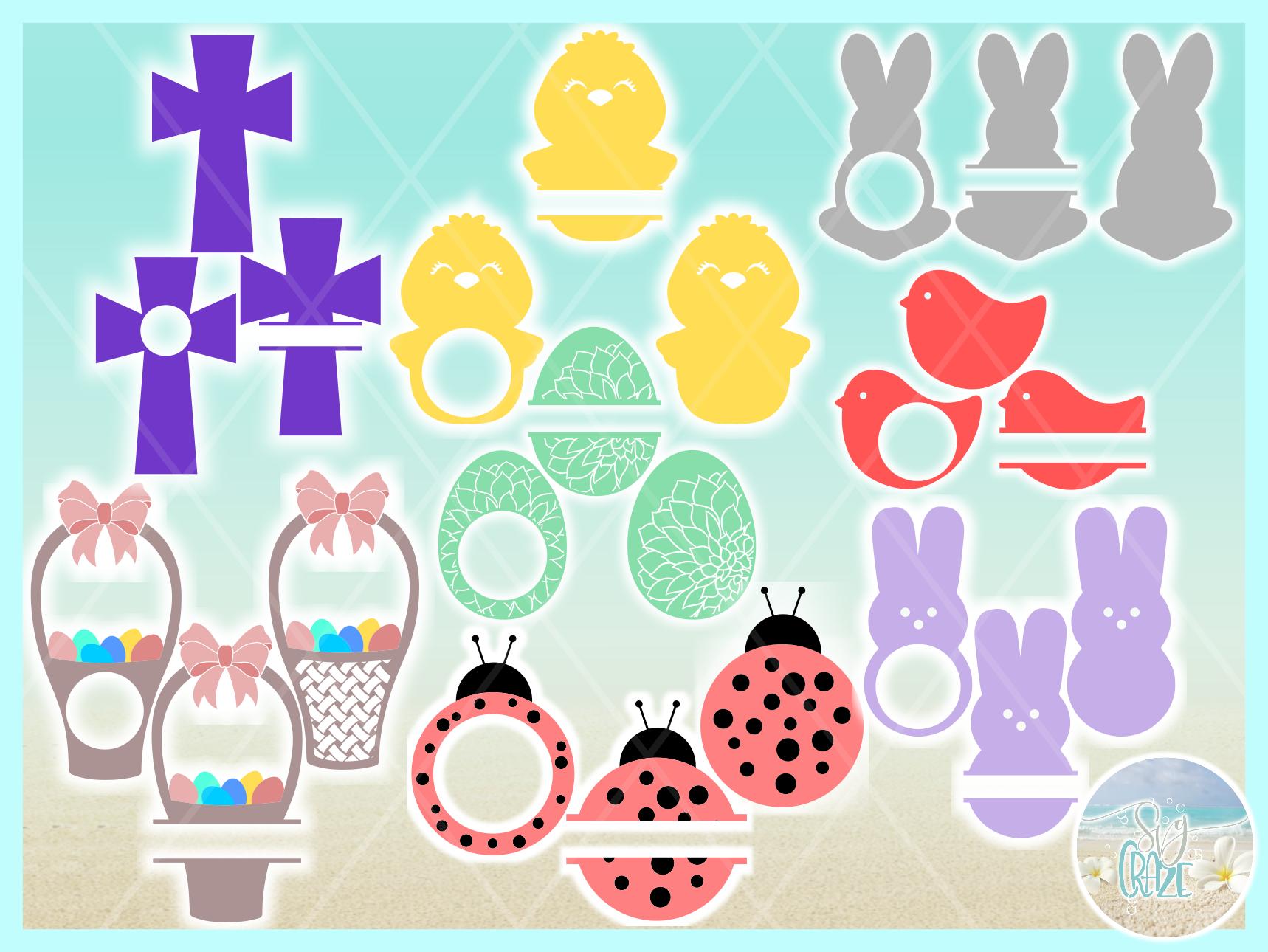 Easter Monogram Bundle SVG DXF EPS PNG PDF files example image 3