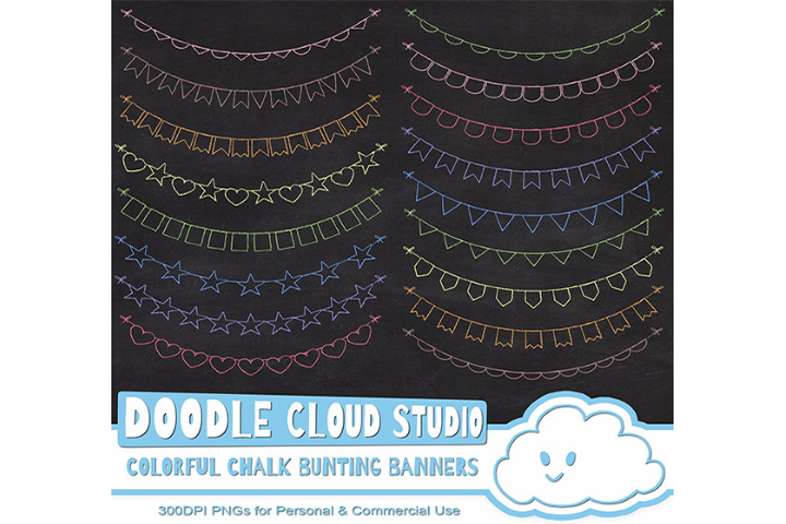 Colorful Chalk Bunting Banners Cliparts, Colorful Chalkboard Bunting Flags, Chalkboard clip art, Instant Download, Personal & Commercial Use example image 2