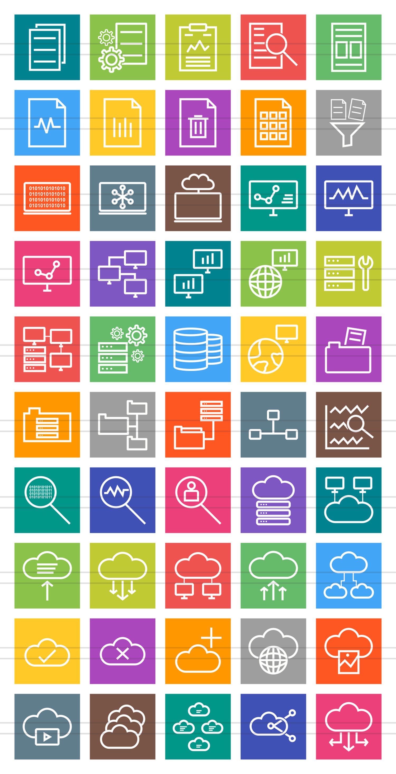 50 Data Sharing Line Multicolor B/G Icons example image 2