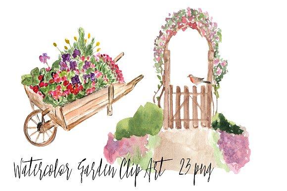 23 Watercolor Garden Clip Art example image 1