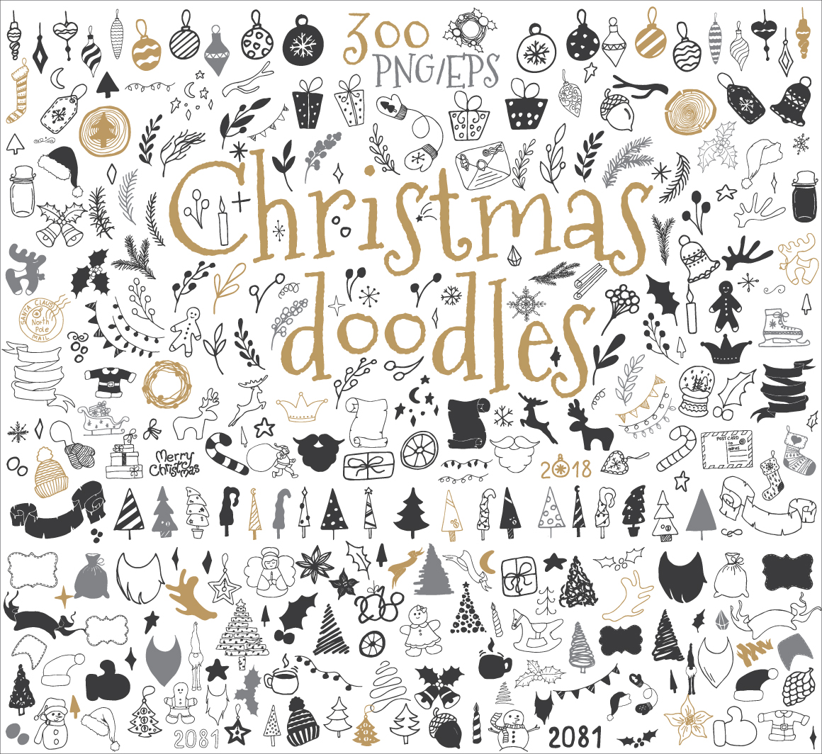 300 Christmas doodle icons and design elements ClipArt example image 2