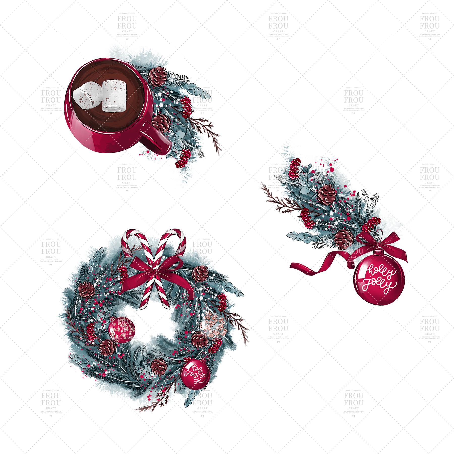 Christmas Tree Winter Present Gift Cozy Clip Art example image 4