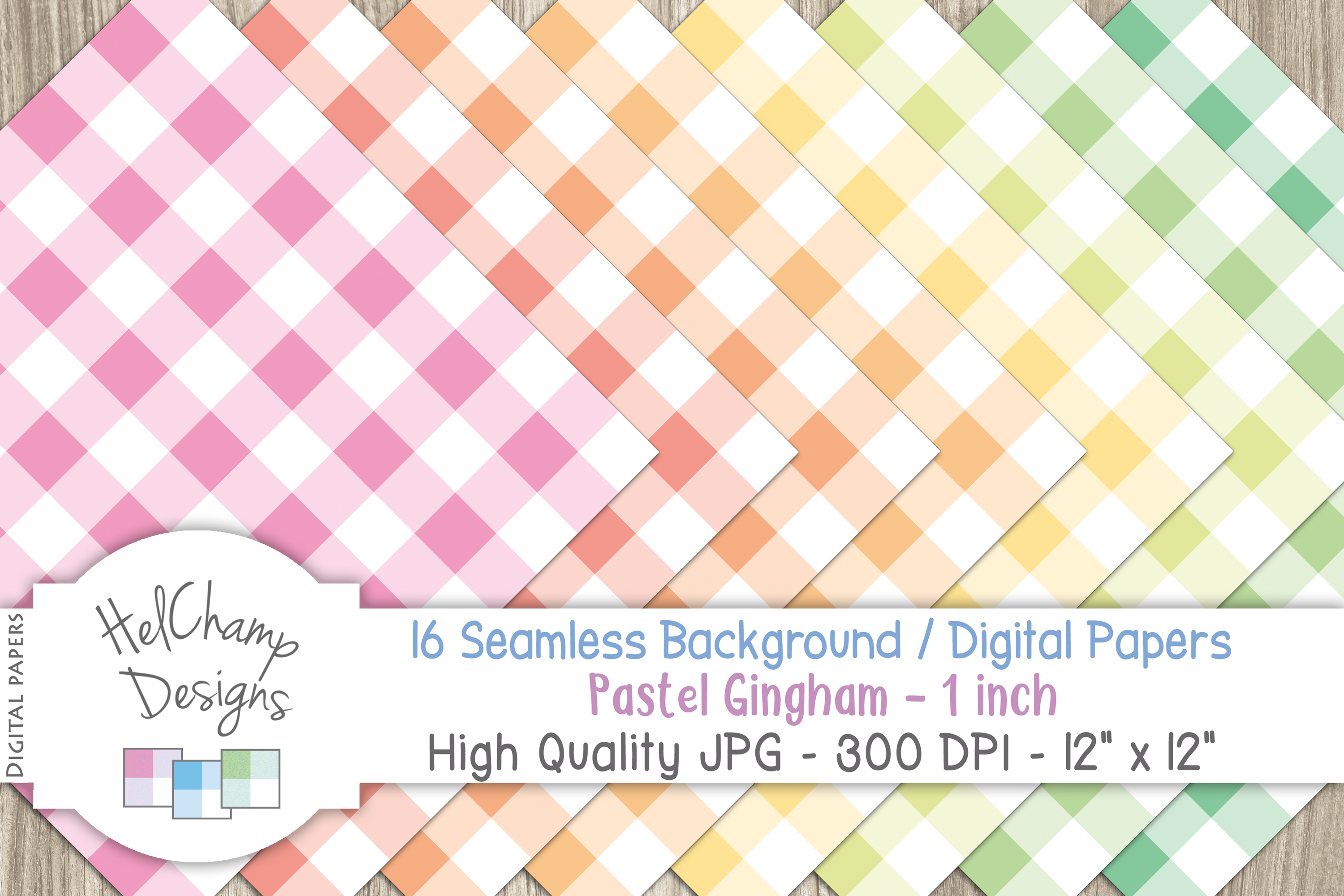 16 seamless Digital Papers - Pastel Gingham 1 inch - HC003 example image 3