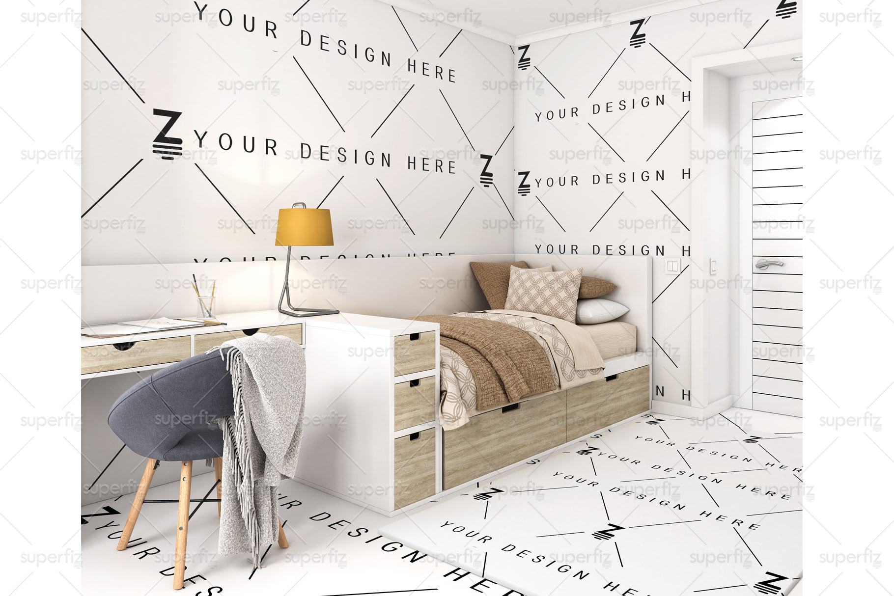 Wallpaper, floor and carpet Mockup Kids Bedroom SM62 example image 3