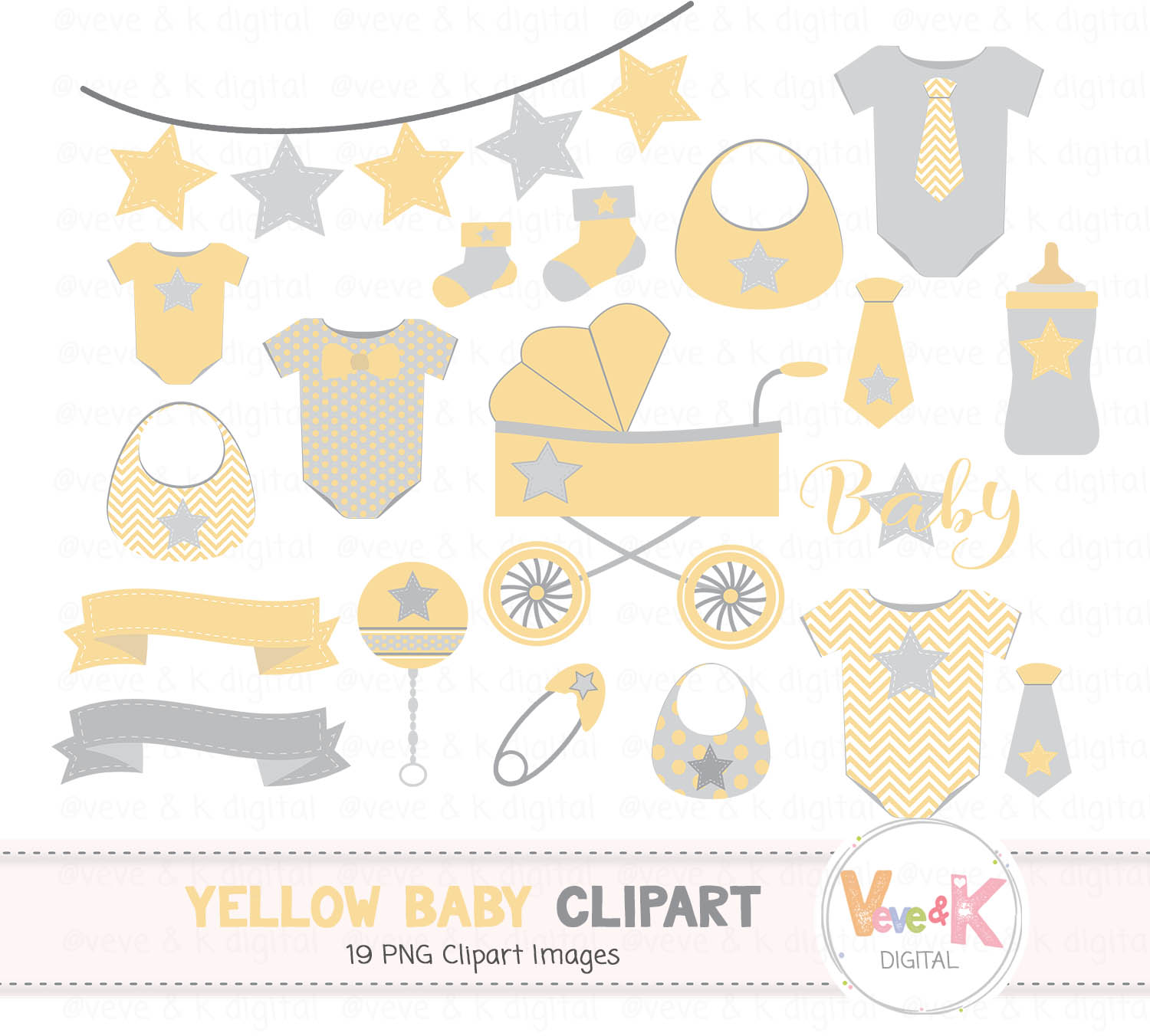Yellow Baby Clipart Gender Neutral Baby Clipart Baby Shower