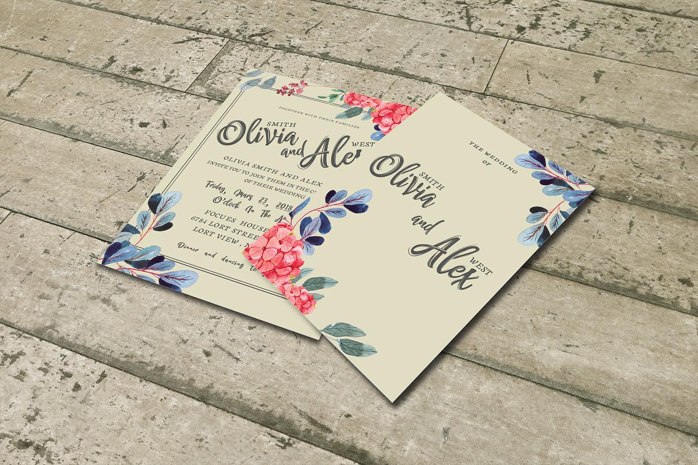 Watercolor flower Wedding invitation set example image 2