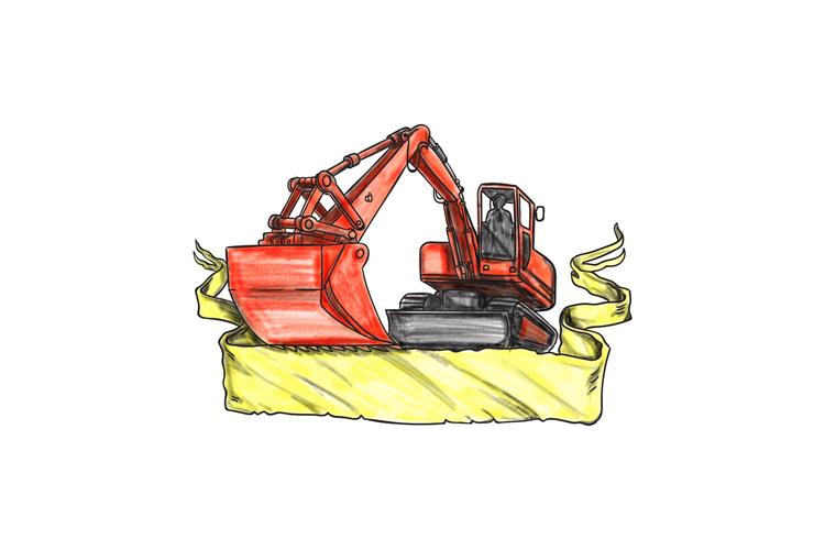 Mechanical Digger Excavator Ribbon Tattoo example image 1