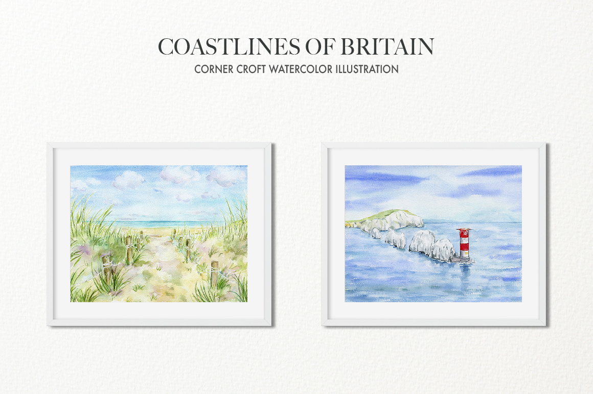 Watercolor Coast of Britain For Instant Download example image 8