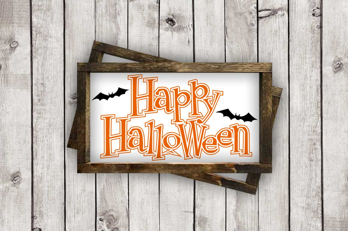 Happy Halloween w/Bats cut File - SVG DXF EPS AI PNG example image 3
