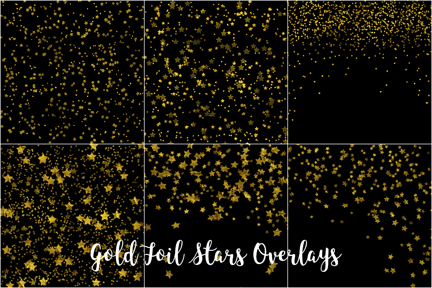 Gold Foil Stars Overlays, Gold Stars Confetti example image 3