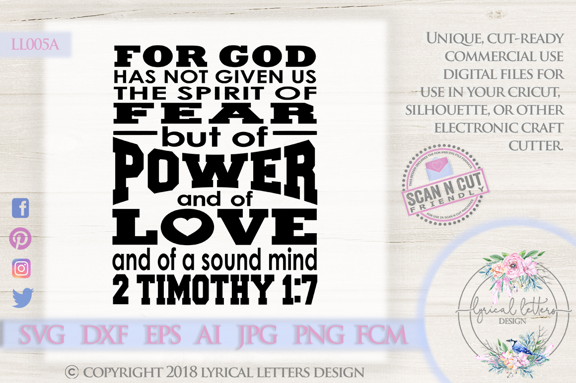 God Has Not Given Us the Spirit of Fear SVG DXF LL005A example image 1