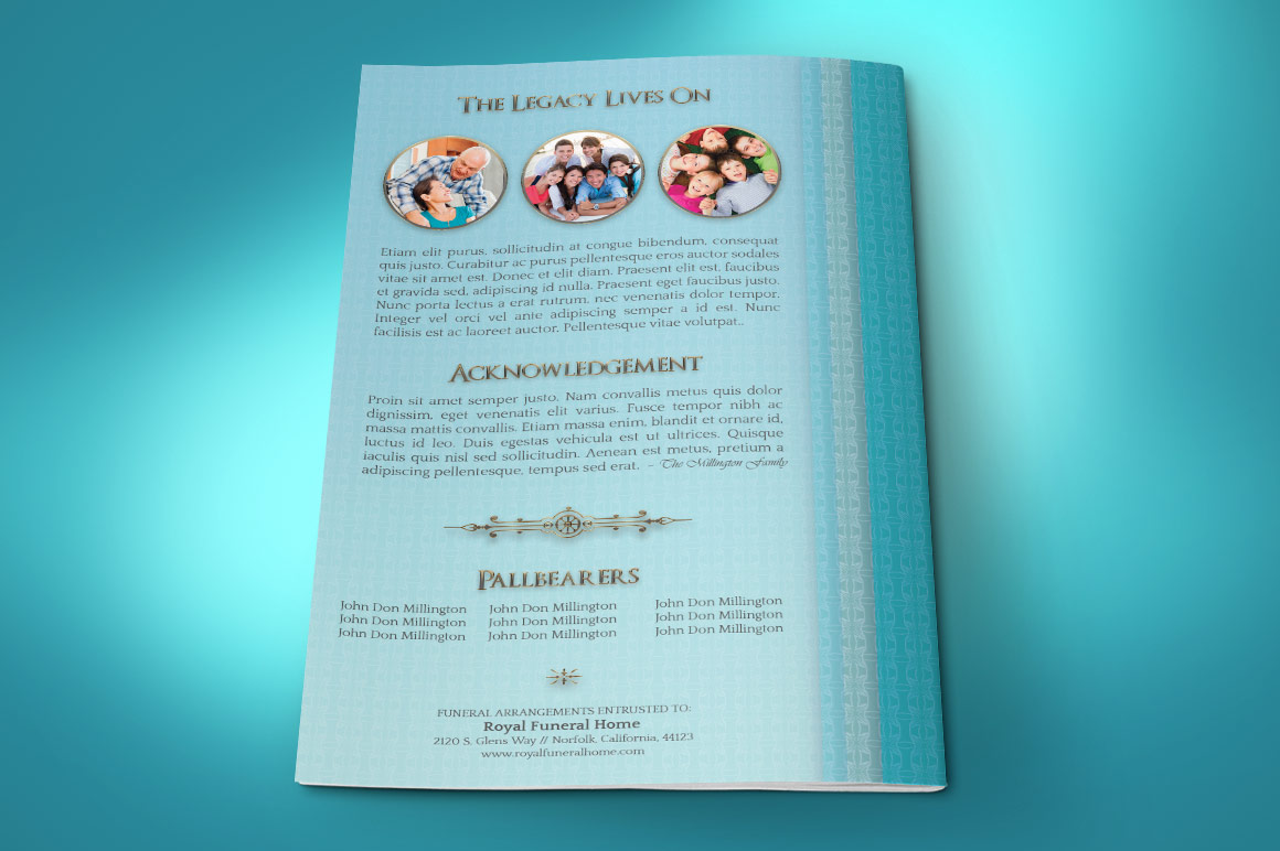 Oceanic Funeral Program Small Template – 4 Pages example image 4