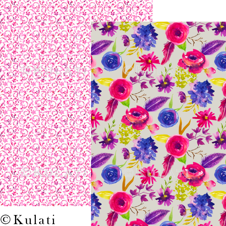 Bohemian Summer Watercolor Floral Patterns example image 6