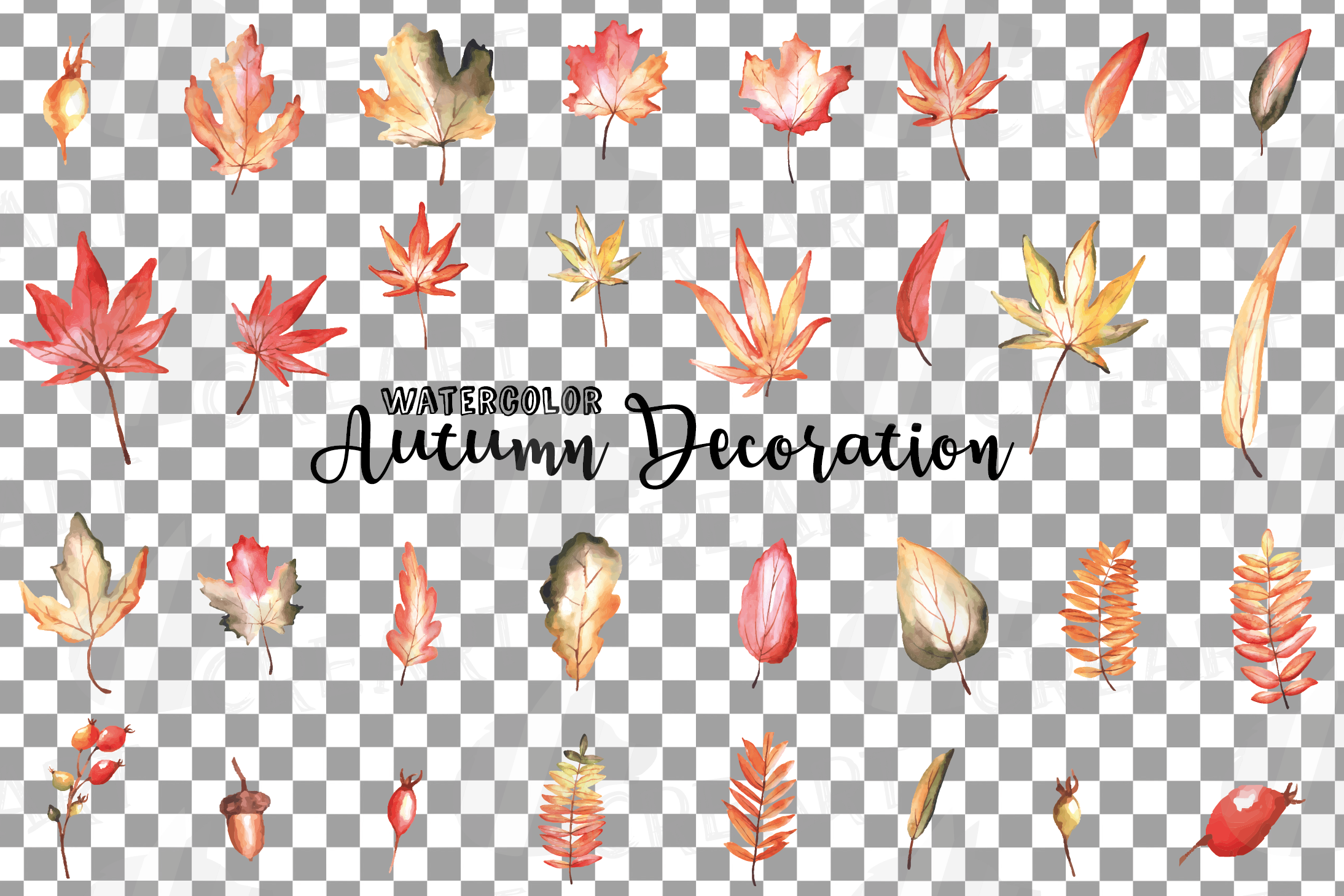 Printable autumn leaves watercolor decoration clip art pack. example image 2
