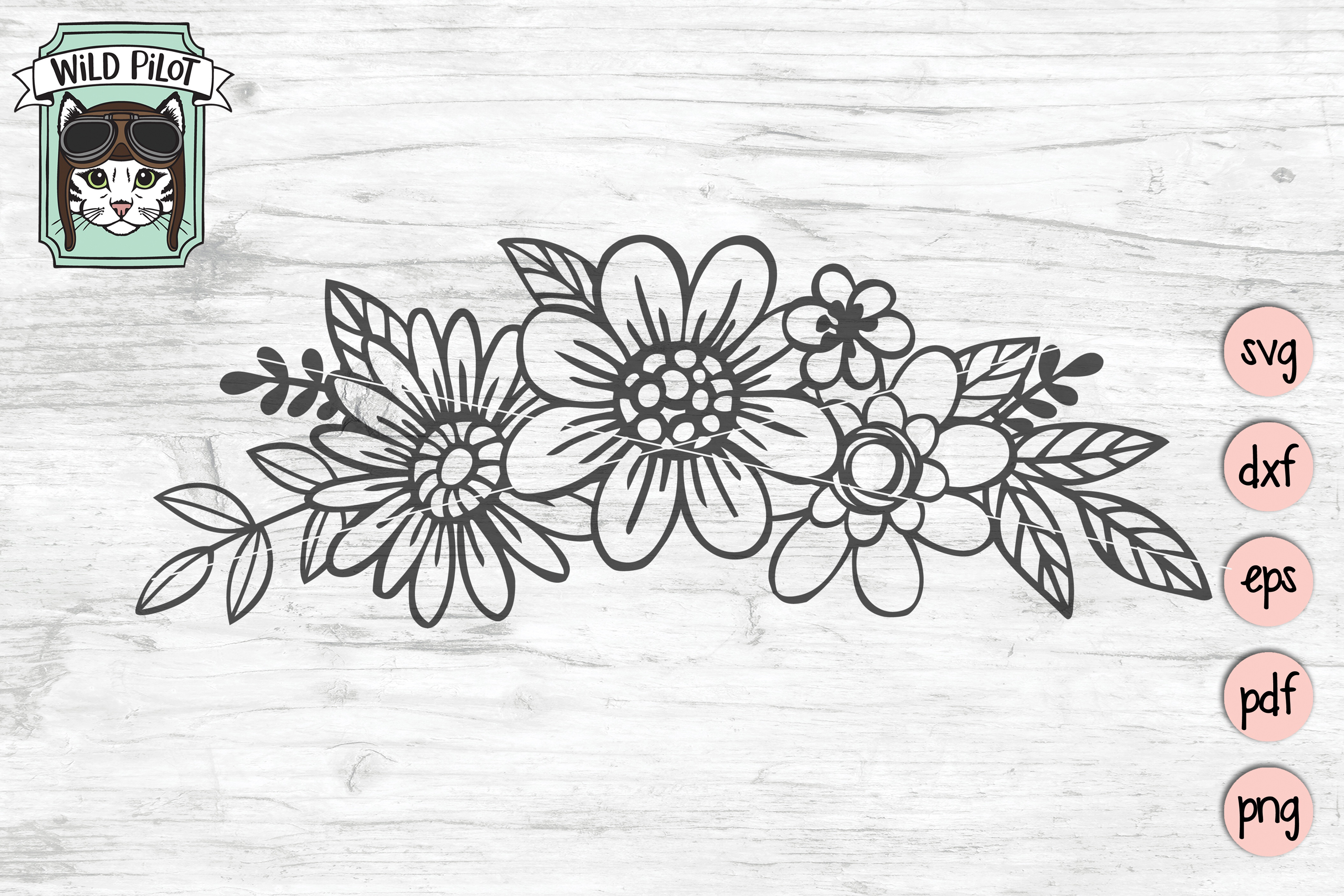 Flowers svg file, Floral cut file, Flowers Border clipart example image 1