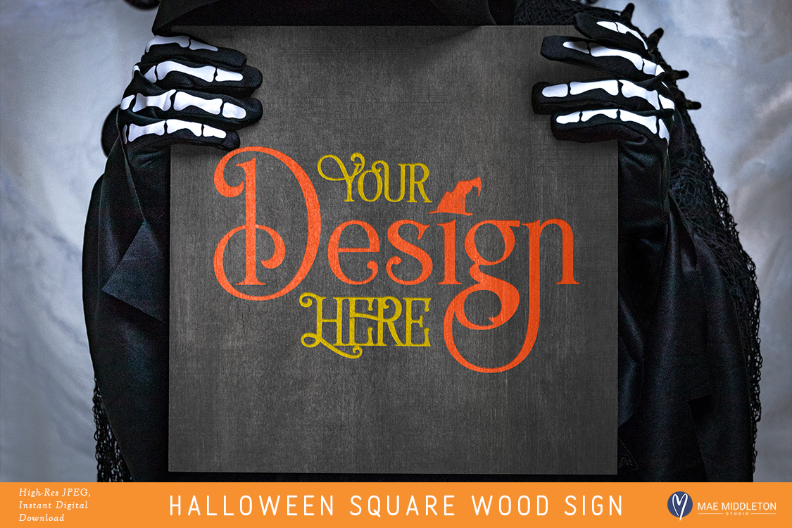 Square Wood Sign Mock up for Halloween example image 1