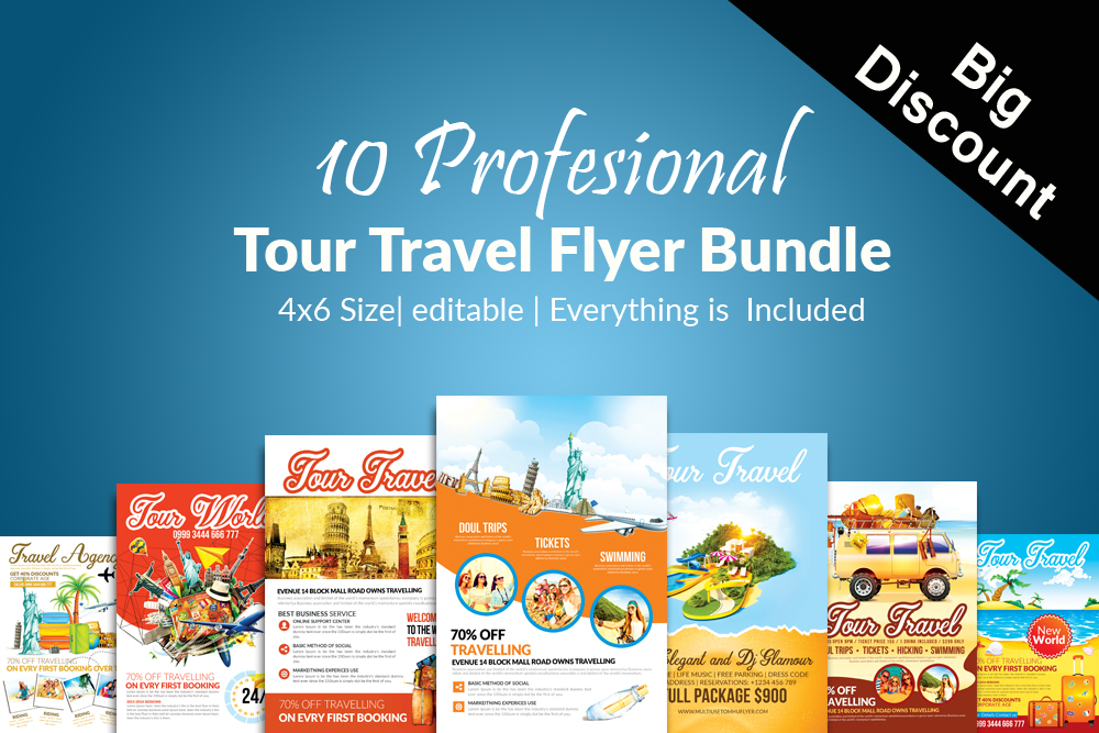 10 Tour Travel Agency Flyer Template Bundle example image 1
