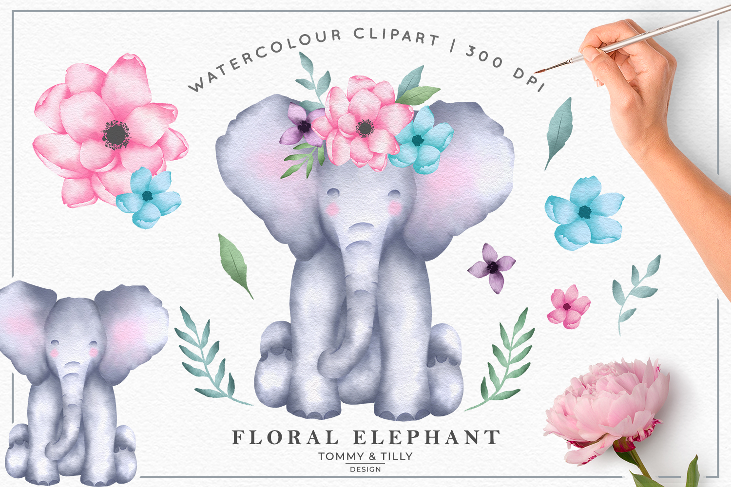 Watercolour Floral Elephant Collection - Kids Clipart PNG example image 1