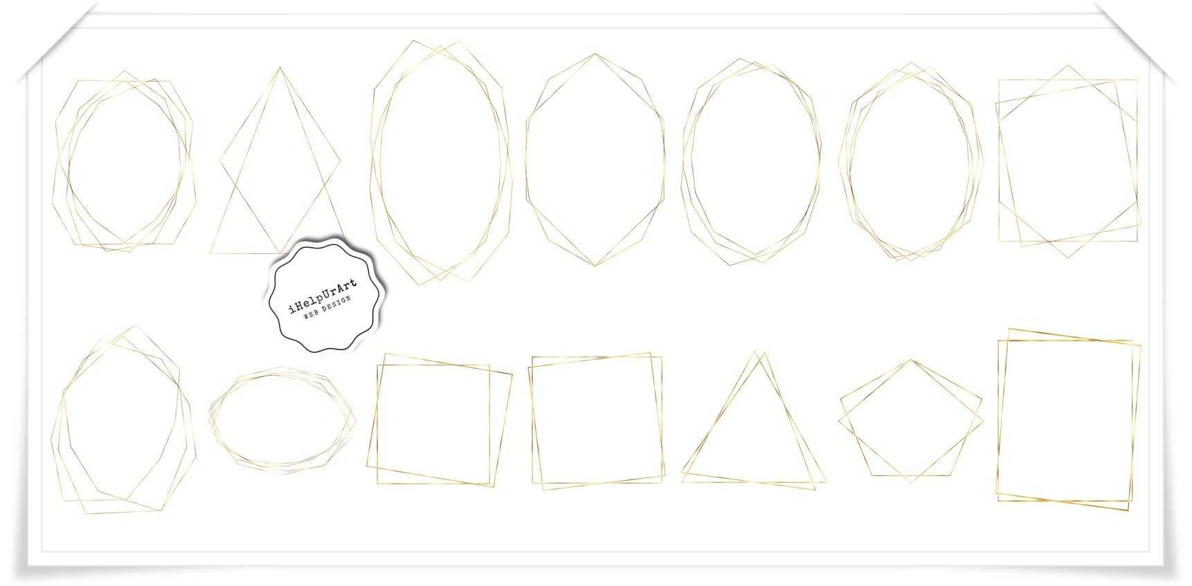 Gold Polygonal Geometric Frames Clipart example image 2