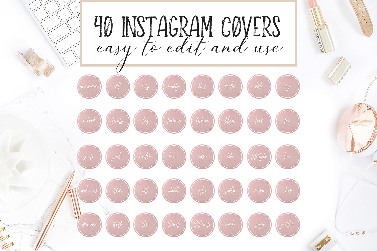 Instagram Highlight Covers in Pink Gold example image 3
