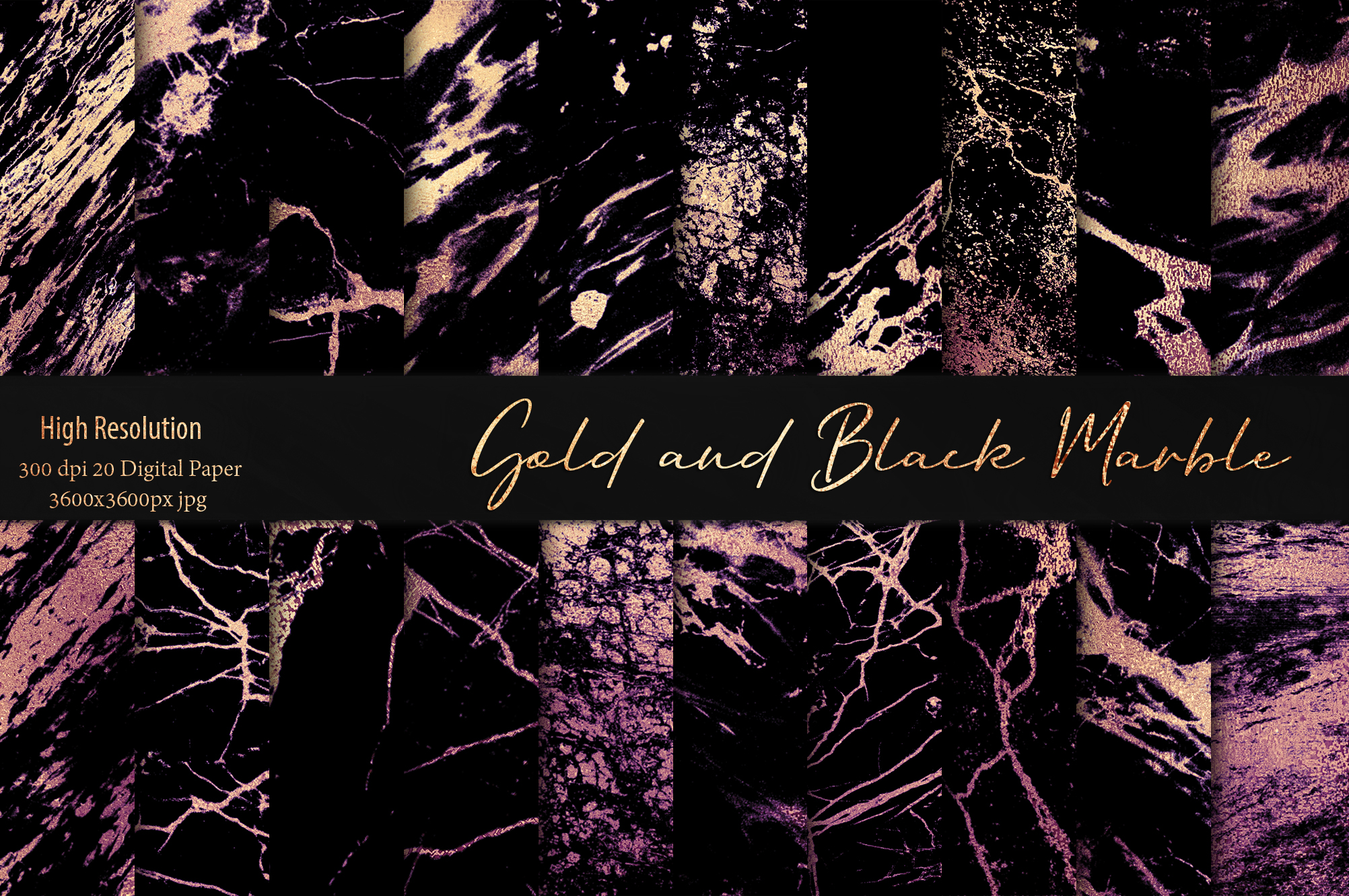 Gold and Black Marble Textures example image 3