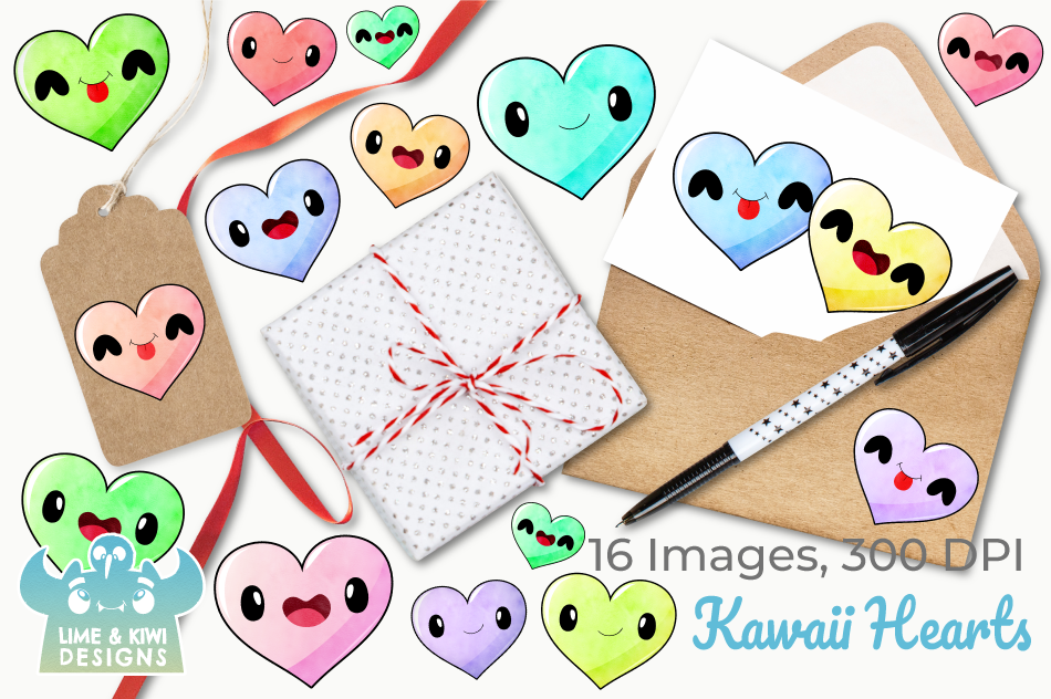 Kawaii Hearts Watercolor Clipart, Instant Download example image 4