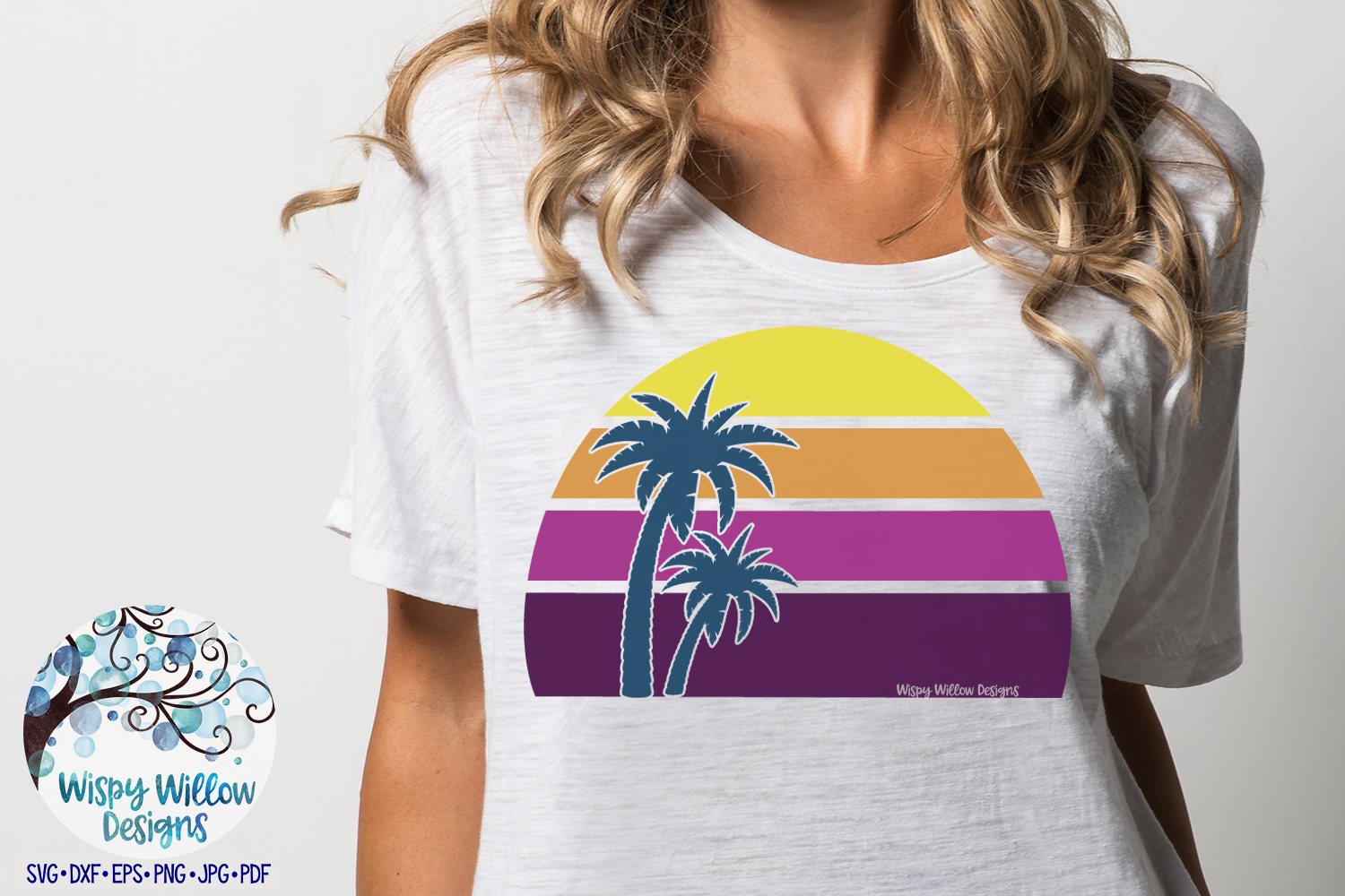 Beach Sunset with Palm Tree SVG | Purple Beach Sunset SVG example image 2