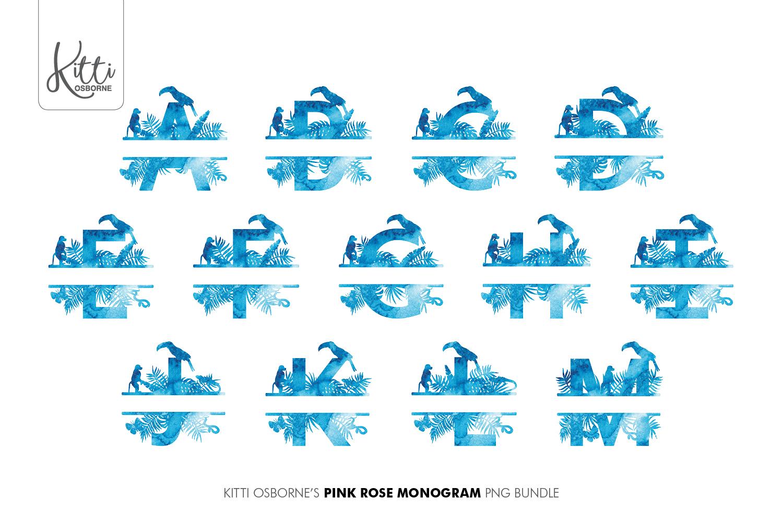 Blue Watercolour Jungle Alphabet Bundle example image 2