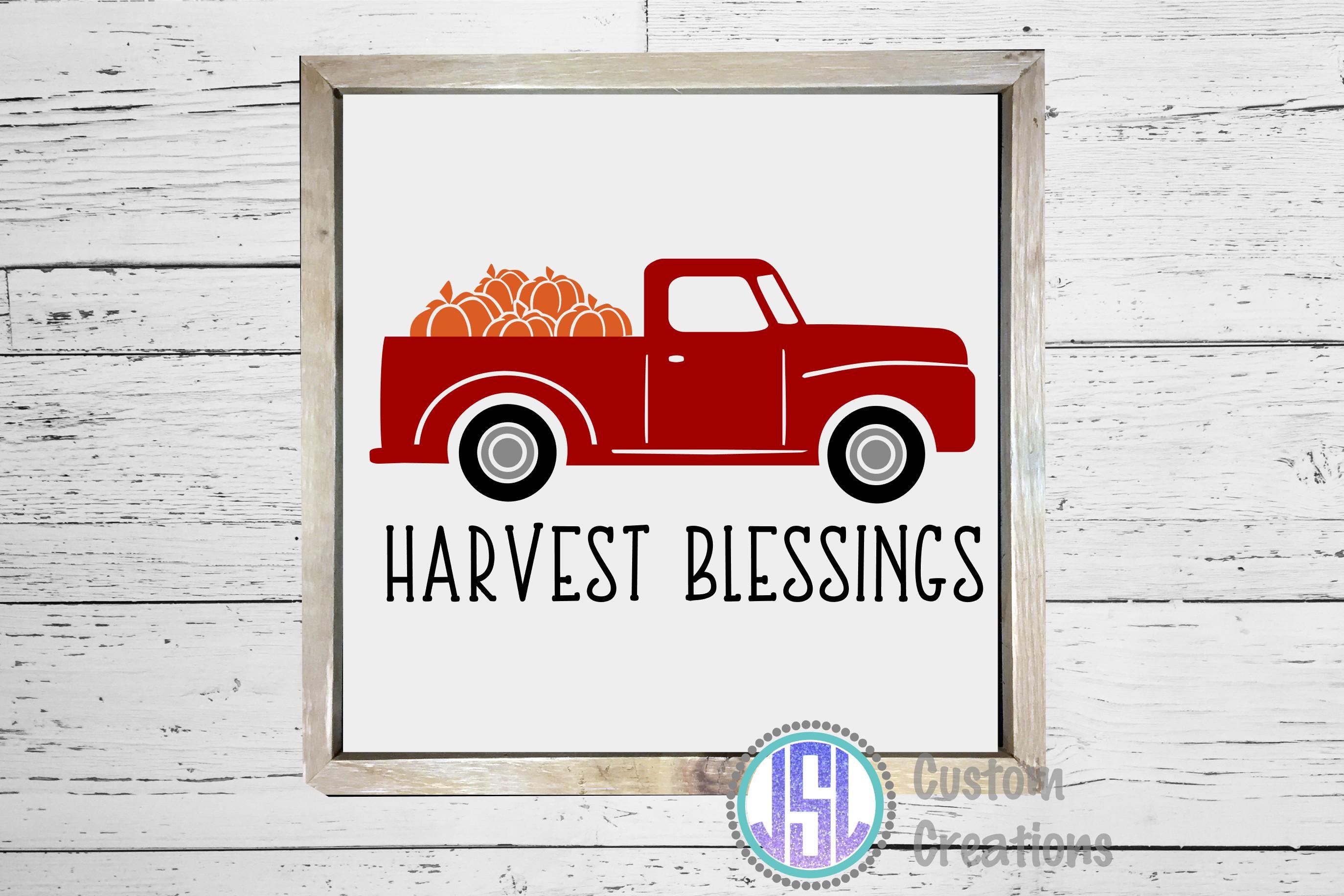 Harvest Blessing Vintage Red Truck  SVG DXF EPS PNG Cut File example image 2