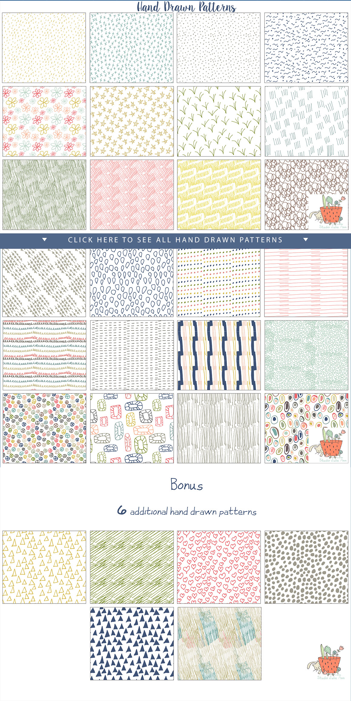 Hand Drawn Seamless Patterns Papers example image 3