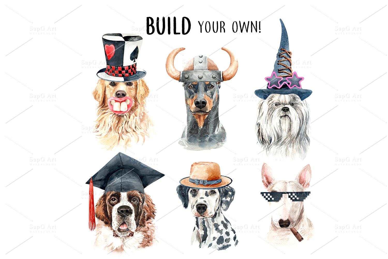 Dog watercolor clipart, Pet clip arts, Dog Set D example image 5