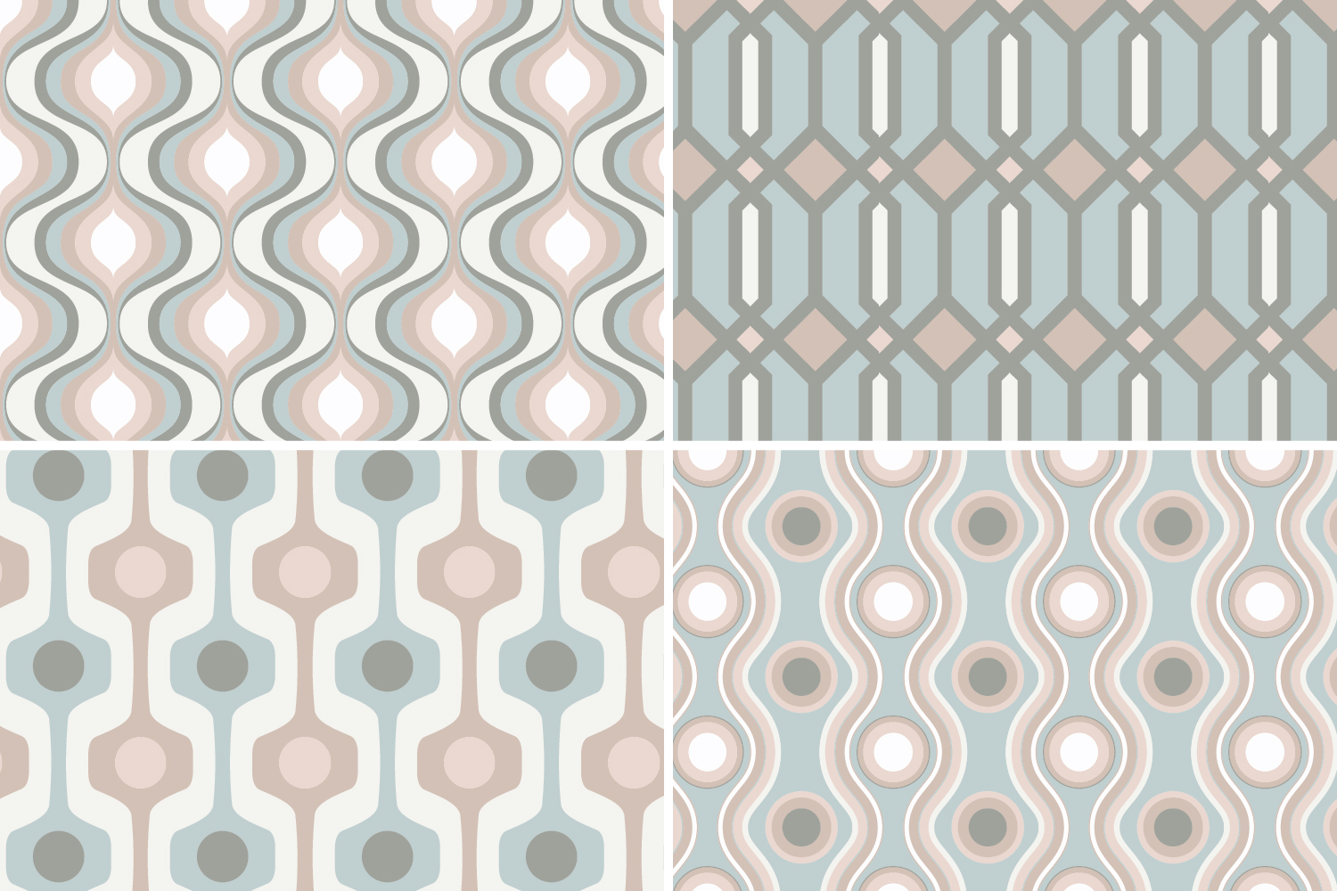 8 Seamless Retro Modern Patterns - Pink, Ivory & Green example image 6