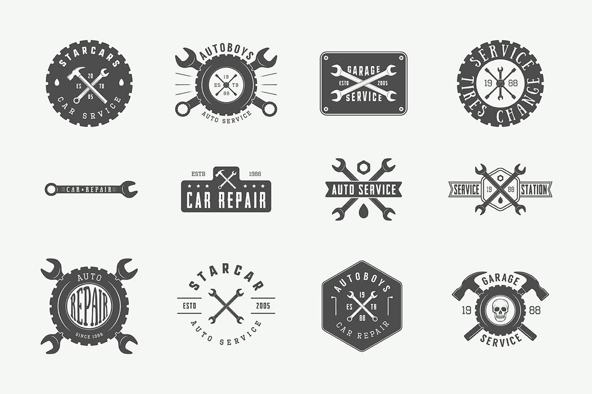 Mechanic and Car Repair Emblems Bundle example image 8