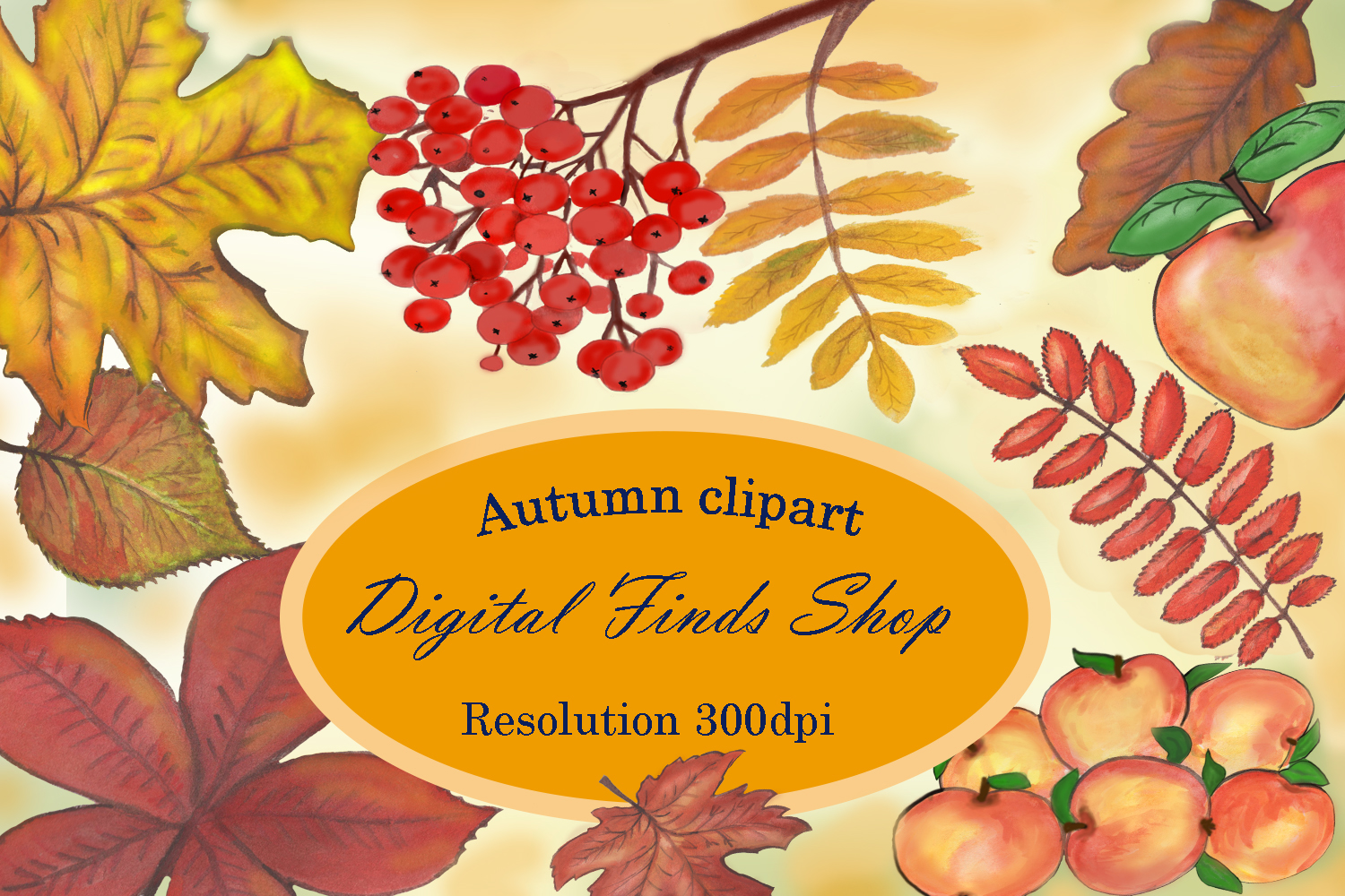 Fall leave Autumn clipart,watercolor fall clipart example image 1