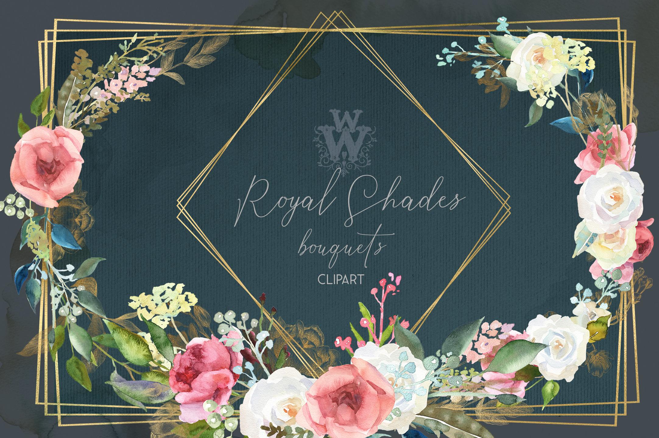 Watercolor rustic wedding bouquets clipart, vintage wreath example image 9