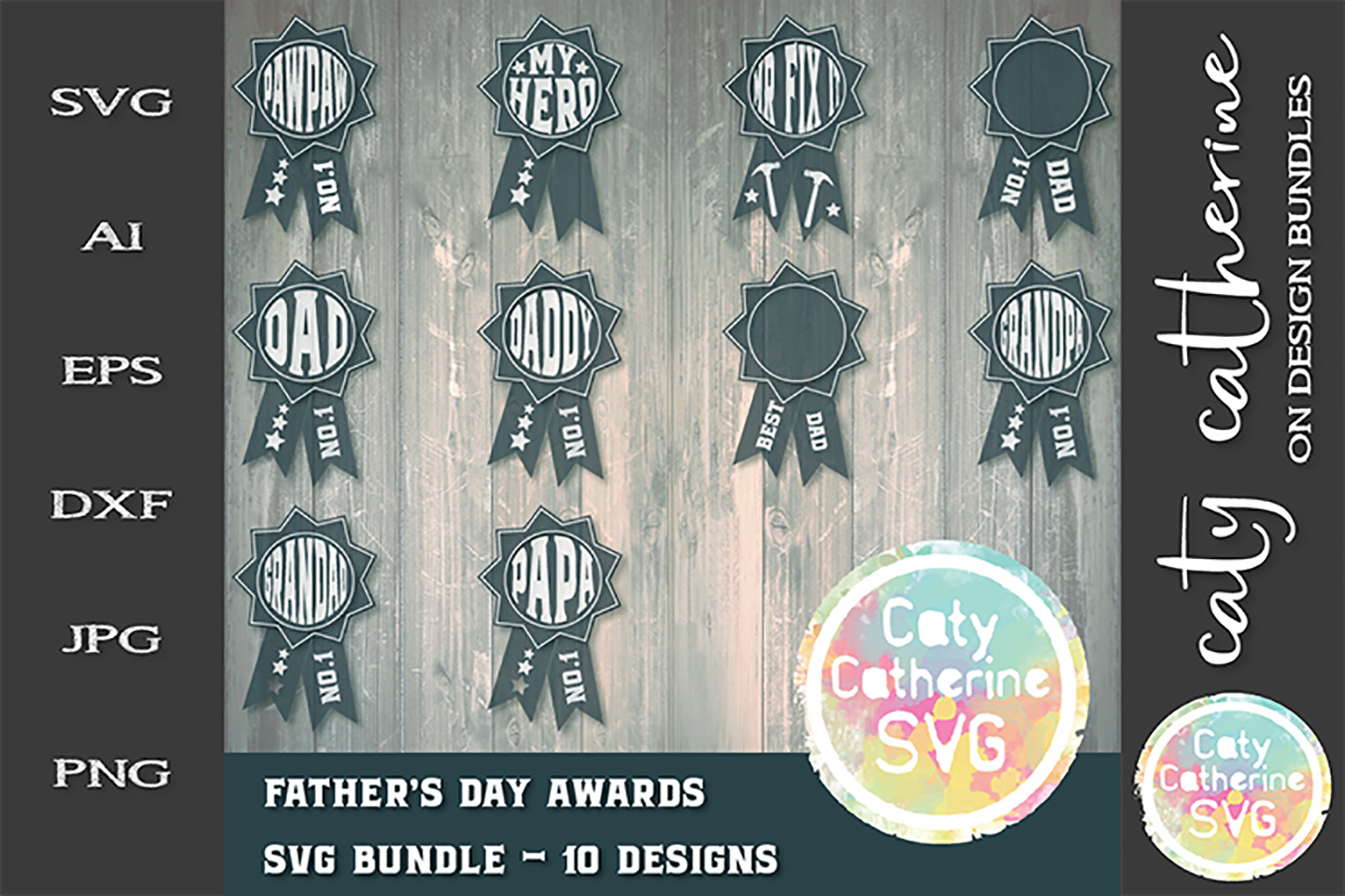 Father's Day Award Bundle 10 Designs SVG Cut File example image 1