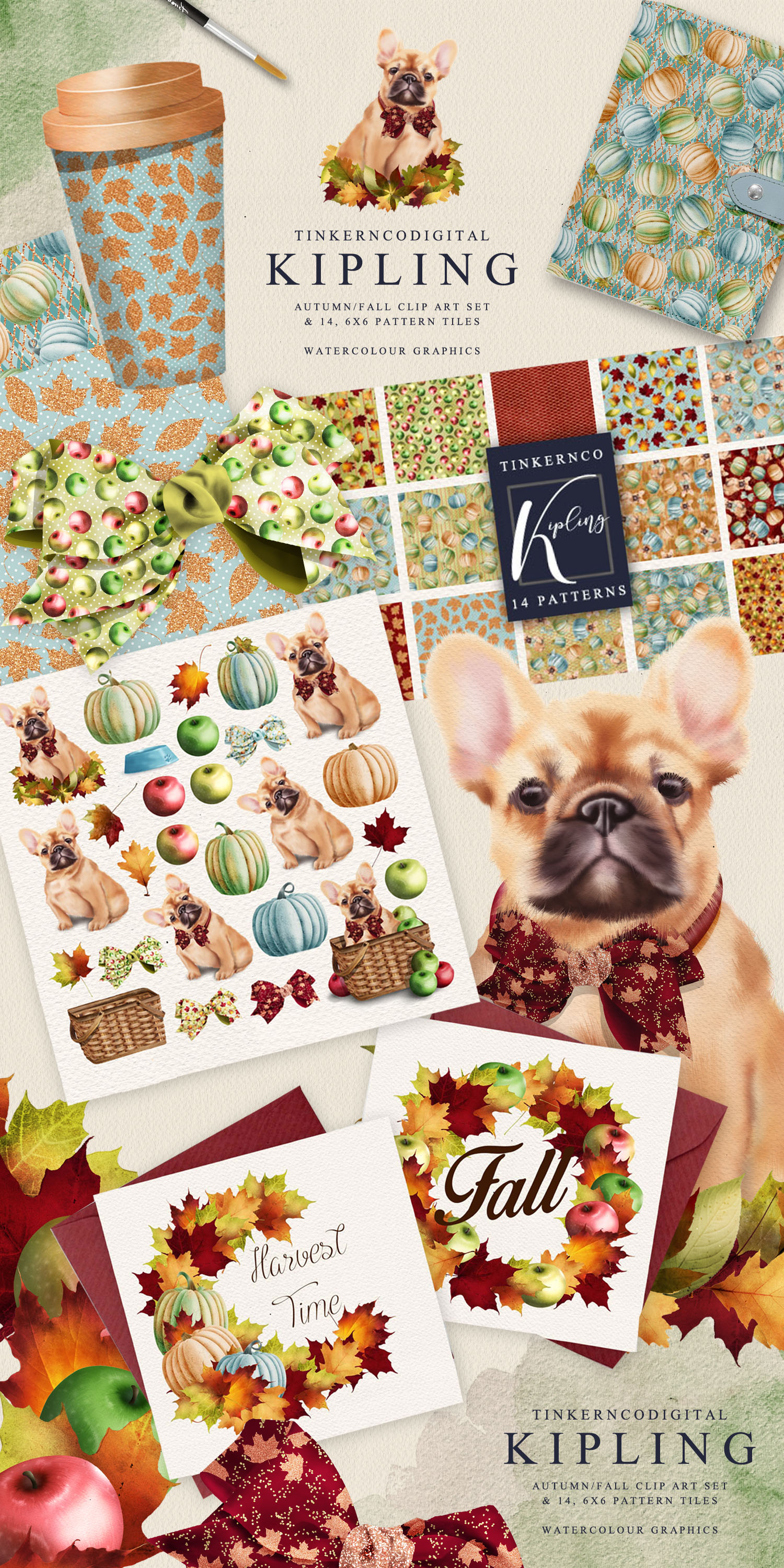 French Bulldog Clipart Pattern tiles example image 7