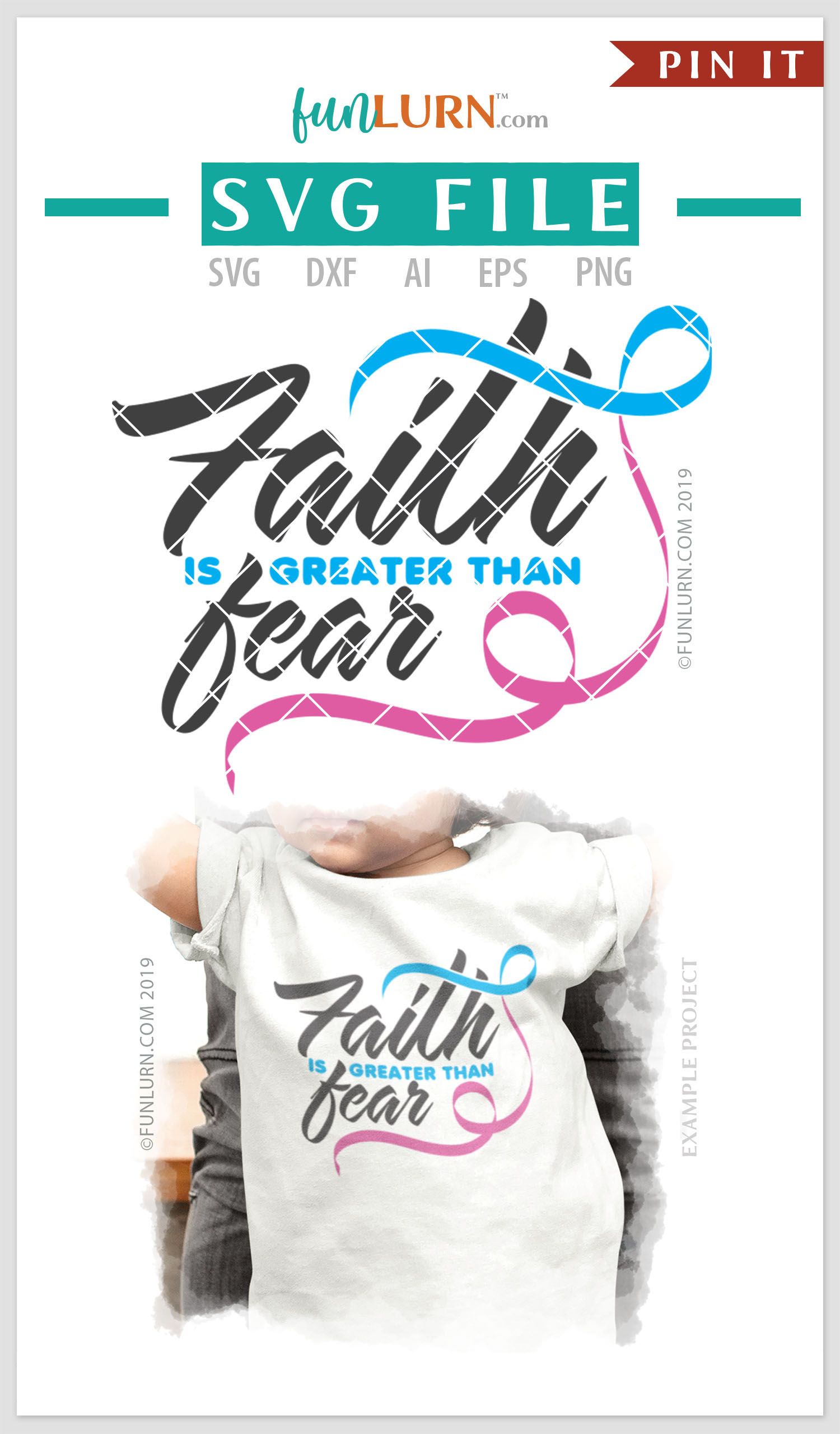 Faith is Greater Than Fear Blue and Pink Ribbon SVG Cut File example image 4