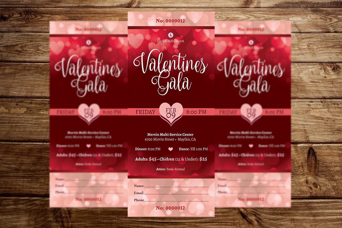 Red Hearts Valentines Gala Ticket Template example image 4
