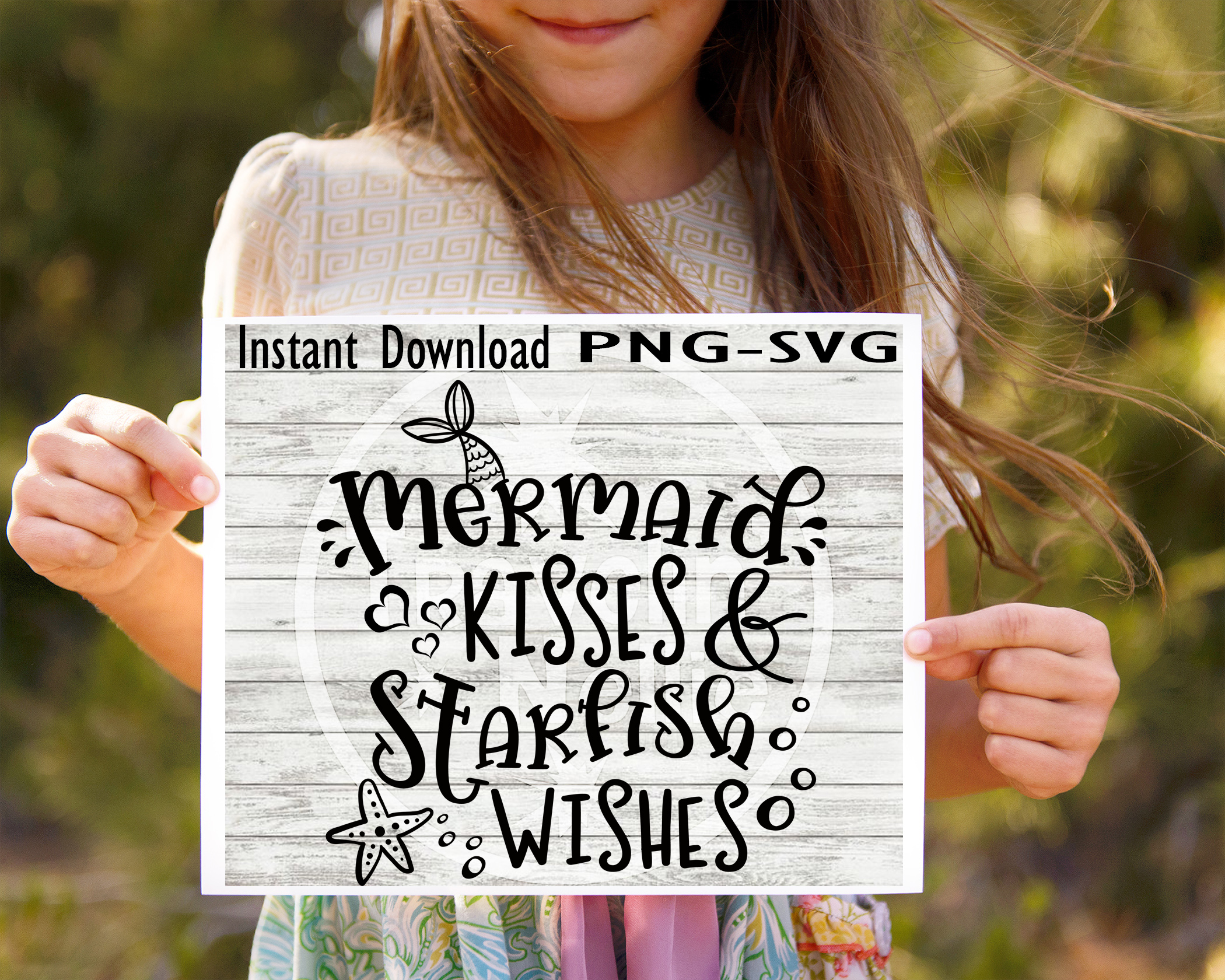 Mermaid Kisses Starfish Wishes SVG PNG Cricut Cameo Silhouette Brother Scan & Cut Crafters Cutting Files for Vinyl Cutting Sign Making example image 1
