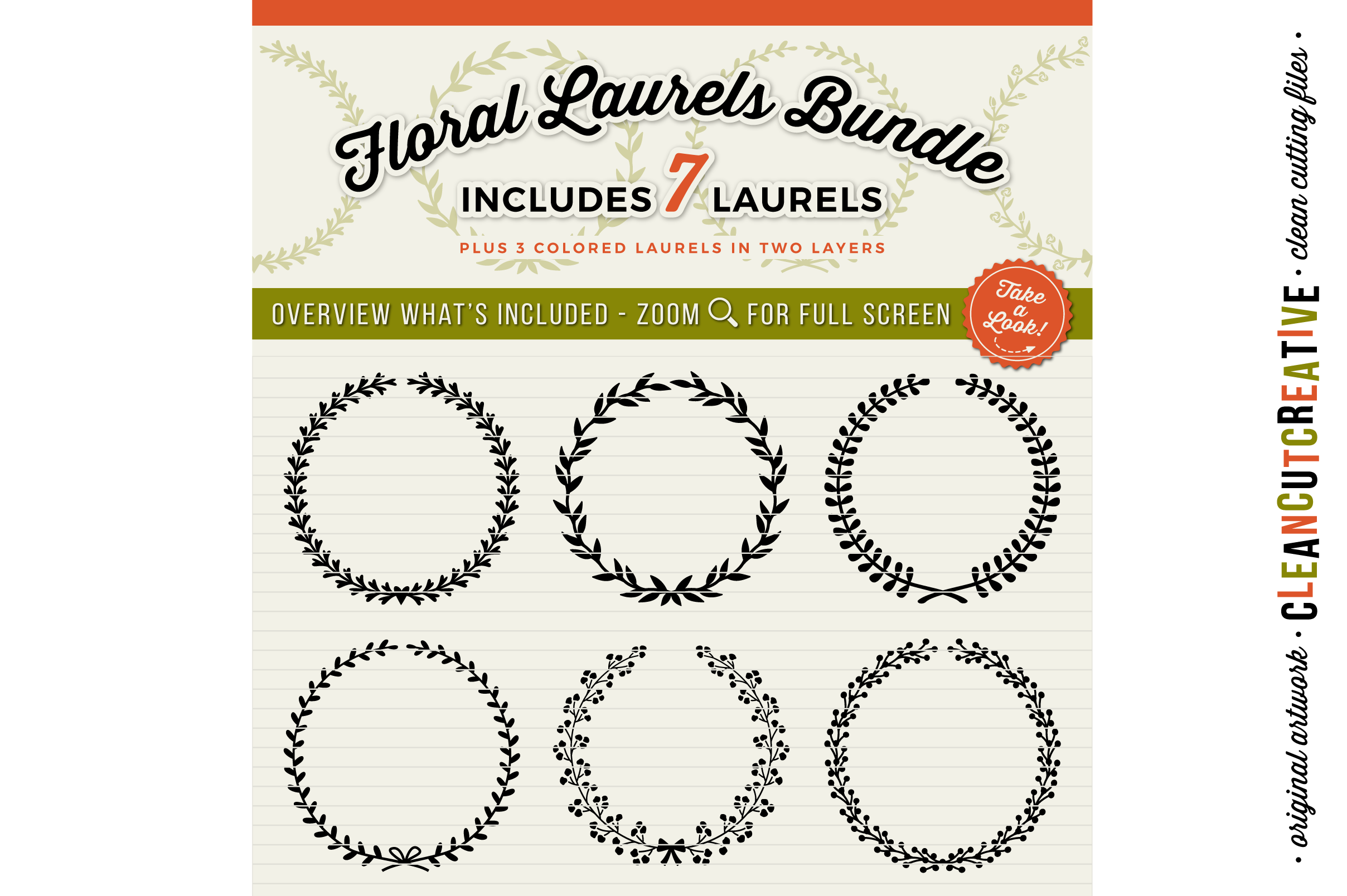 7 svg FLORAL LAURELS floral leaf circleframes - SVG DXF EPS PNG - for Cricut and Silhouette Cameo - clean cutting digital files example image 2
