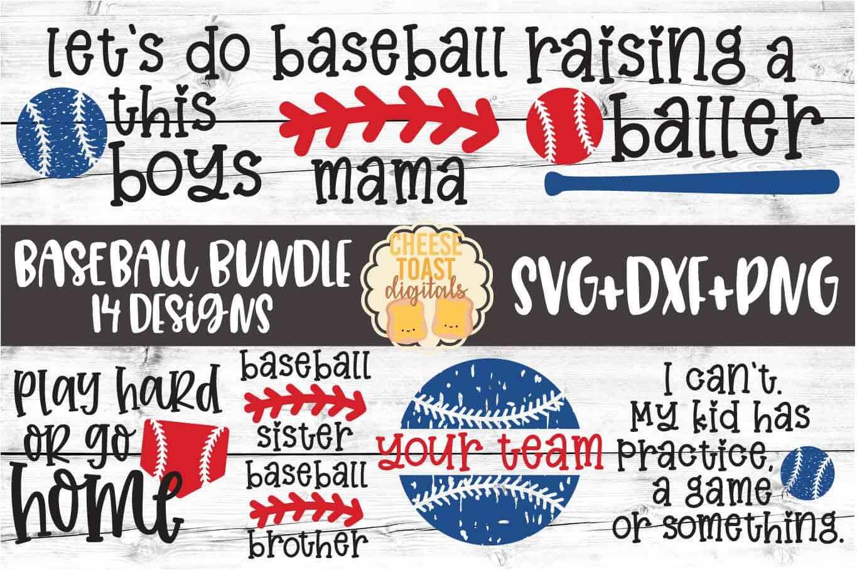 Baseball Bundle - 14 Designs - SVG PNG DXF Cut Files example image 1