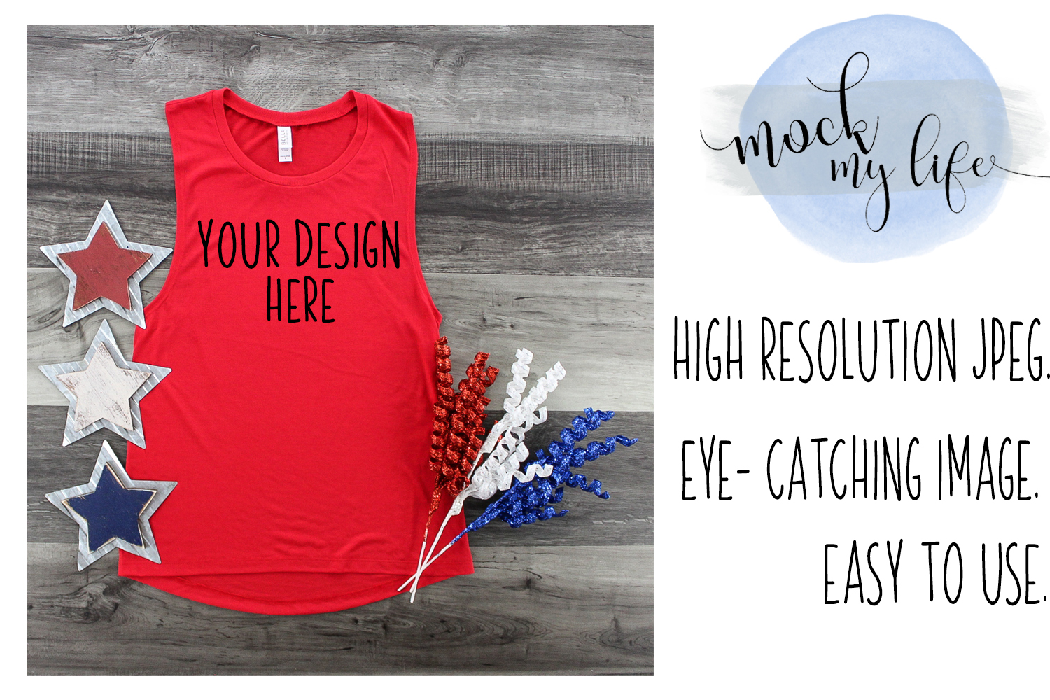Bella Canvas Mockup / Patriotic Flat Lay / Independence Day example image 1