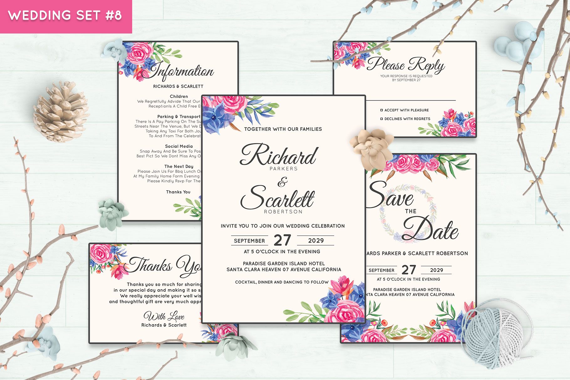 Wedding Invitation Set #8 Watercolor Floral Flower Style example image 1
