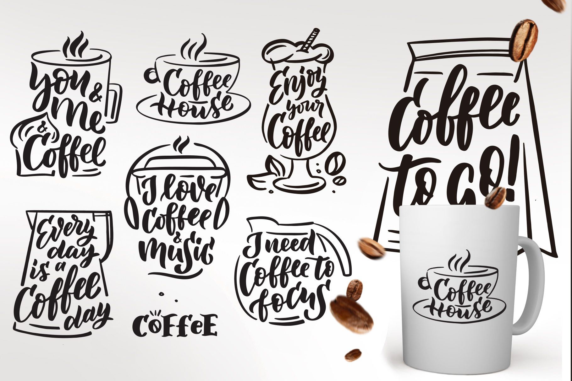 Coffee lettering clipart, vintage example image 2