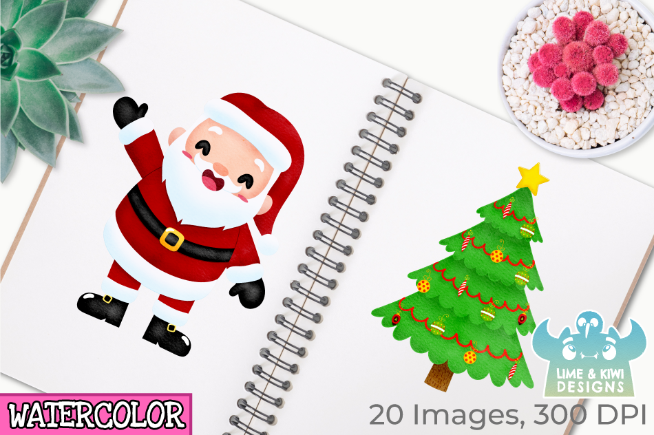 Santa Claus Watercolor Clipart, Instant Download Vector Art example image 3