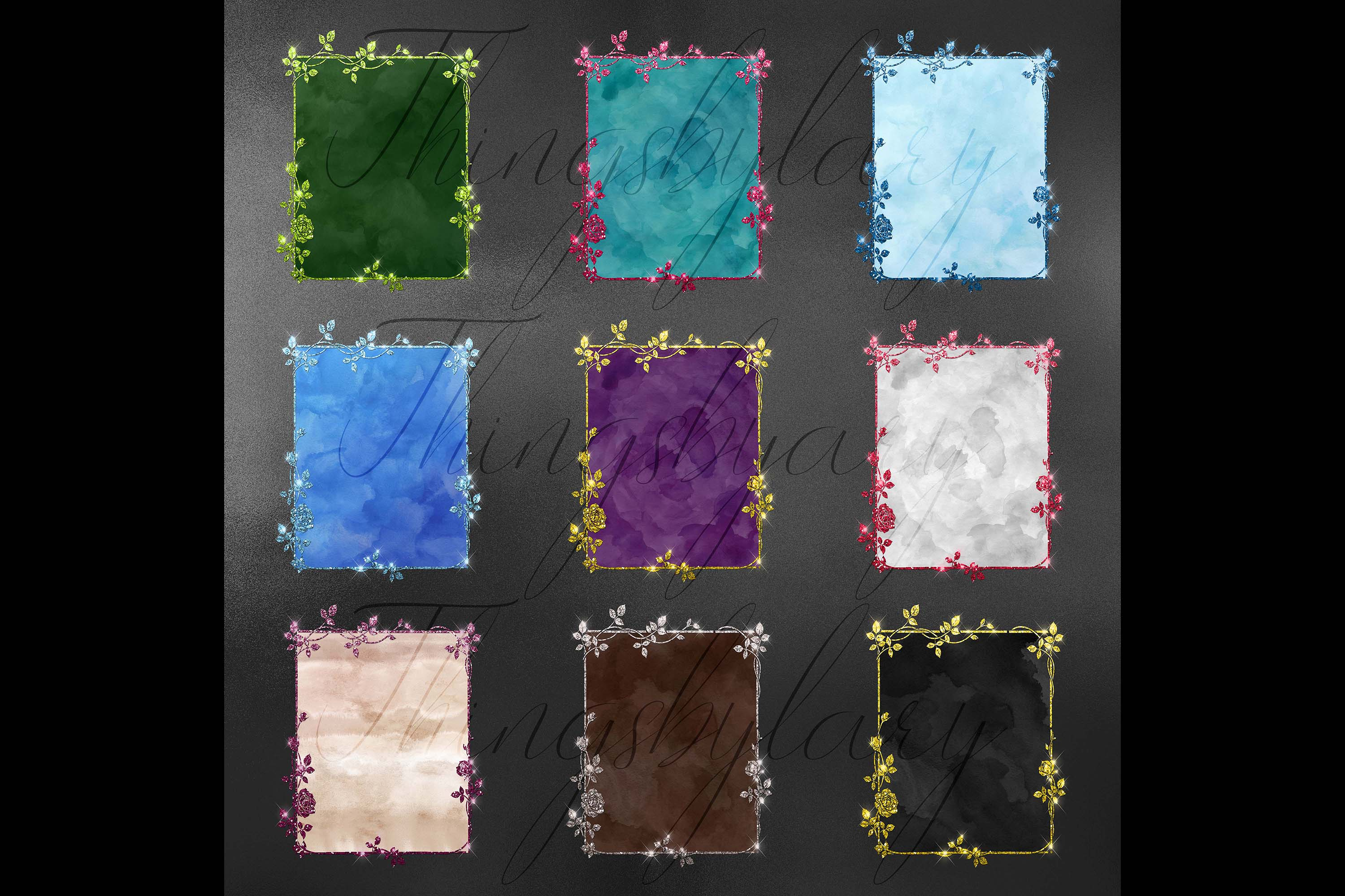 18 Glitter and Watercolor Leaf Branch Floral Frame Card example image 10